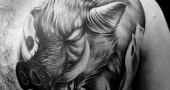 cool-shaded-boar-tattoo-for-men-on-upper-chest