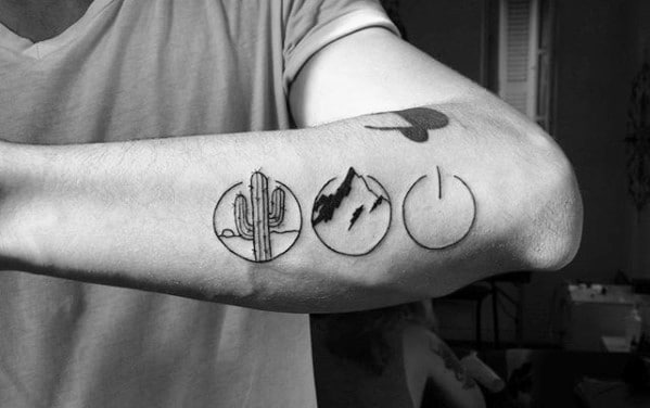guys-outer-forearm-simple-nature-themed-circle-tattoos