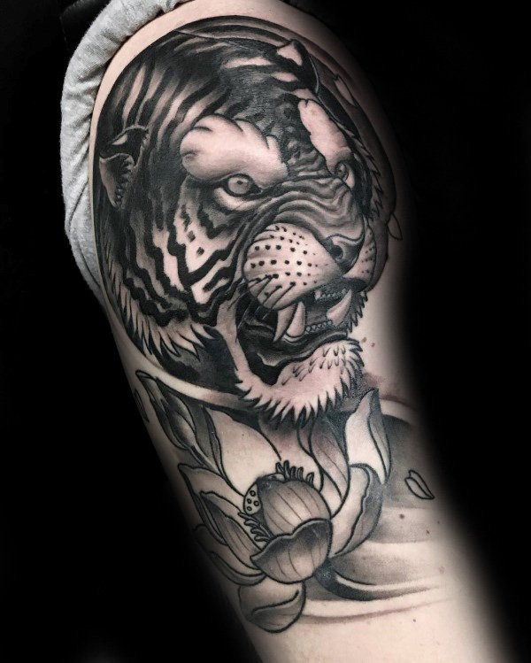 guys-shaded-lotus-flower-and-tigher-upper-arm-tattoos