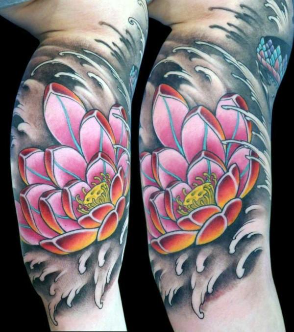 inner-arm-lotus-flower-water-waves-guys-tattoos