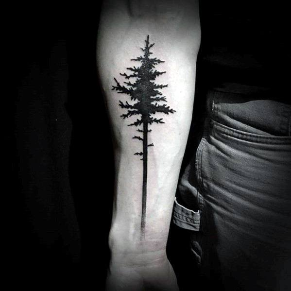 mens-inner-forearm-simple-pine-tree-tattoo-ideas