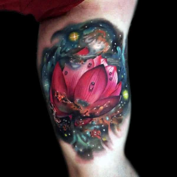 outer-space-lotus-flower-tattoo-with-realistic-design-on-inner-arm