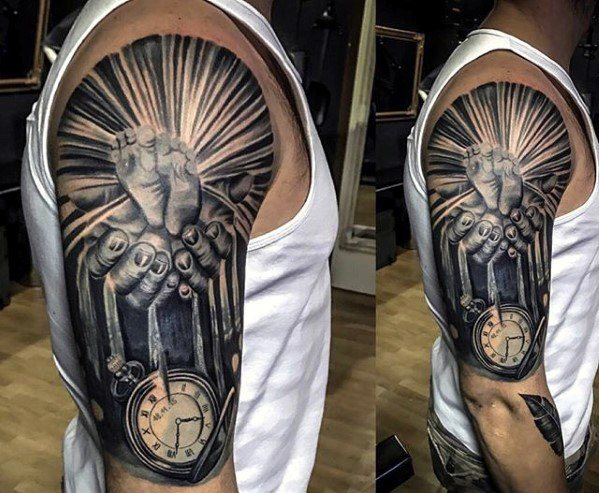 cool-pocket-watch-hands-half-sleeve-guys-tattoo-cover-up-ideas