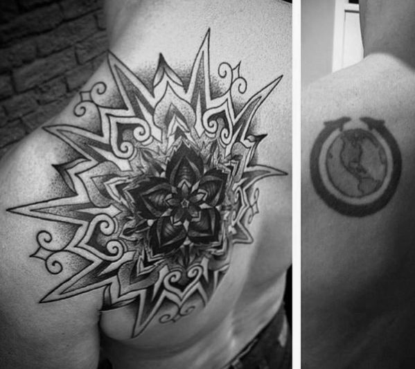 geometric-star-mens-tattoo-cover-up-ideas-on-shoulder