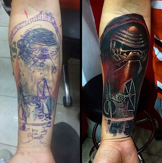 guys-star-wars-themed-inner-forearm-tattoo-cover-up-ideas