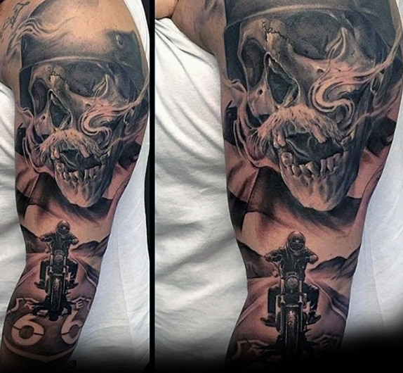 incredible-harley-davidson-skull-motorcycle-rider-guys-sleeve-tattoo