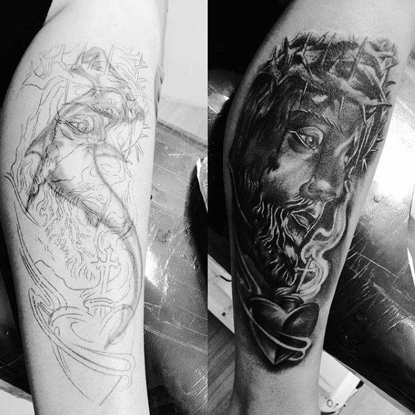 jesus-with-eternal-heart-guys-tattoo-cover-up-arm-ideas