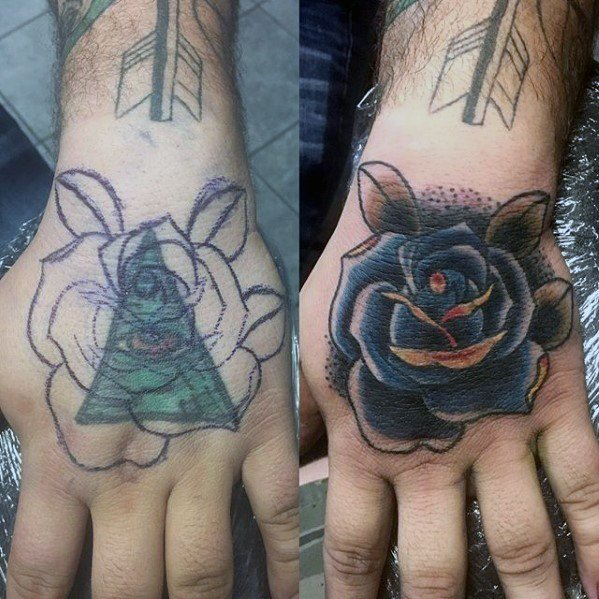 old-school-blue-rose-flower-tattoo-cover-up-ideas-on-hands-for-men