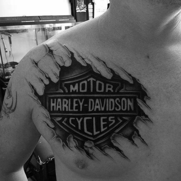 ripped-skin-harley-davidson-logo-3d-guys-upper-chest-tattoo-with-black-ink