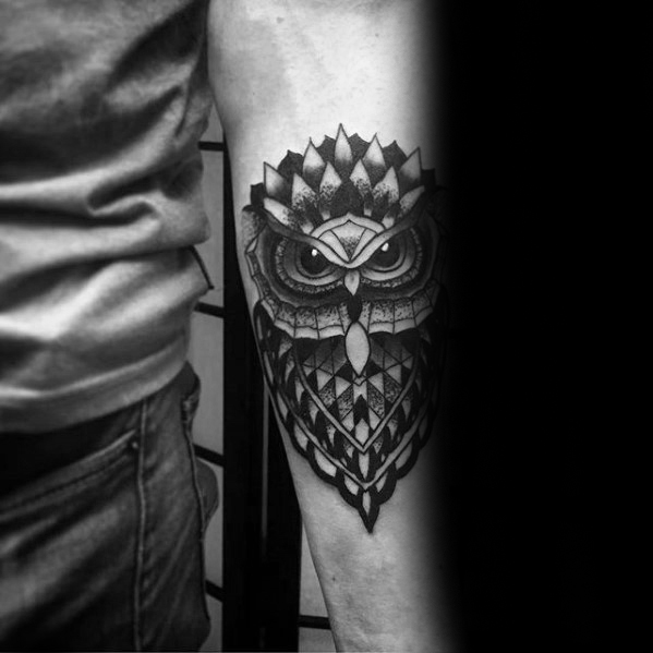 black-and-grey-ink-shaded-mens-pattern-geometric-owl-forearm-tattoo