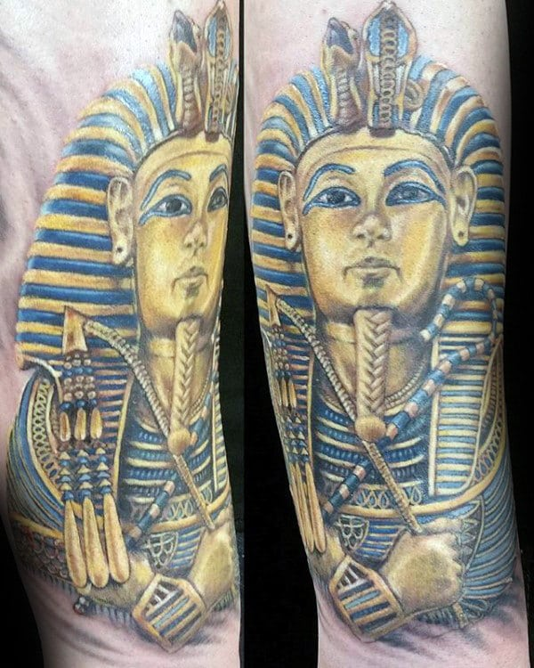 blue-and-gold-ink-mens-king-tut-arm-tattoos