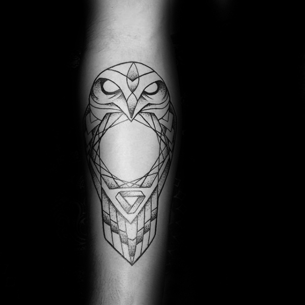 circle-with-geometric-owl-mens-inner-forearm-tattoo-designs