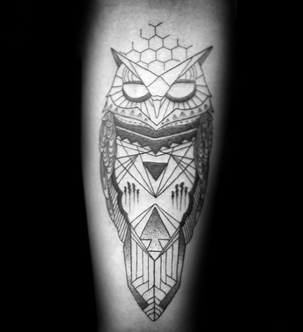gentleman-with-inner-forearm-geometric-owl-tattoo-designs