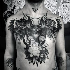 mens-chest-geometric-owl-with-cube-tattoo-design