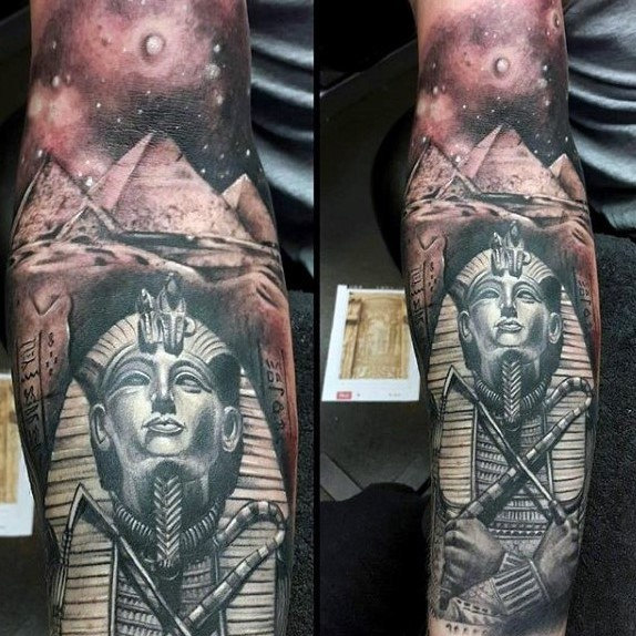 mens-full-sleeve-tattoo-of-king-tut-with-ancient-egyptian-pyramids