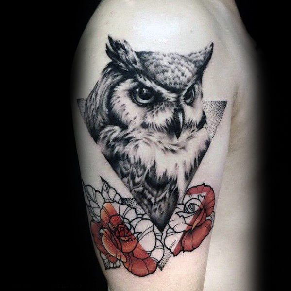 mens-geometric-owl-with-rose-flowers-tattoo-design