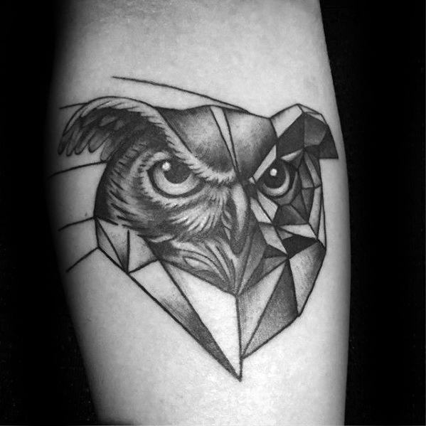owl-head-with-geometric-body-mens-inner-forearm-tattoo