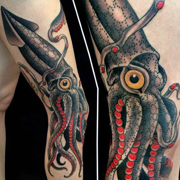 cool-squid-tattoos-for-males-grey-with-red-tentacles