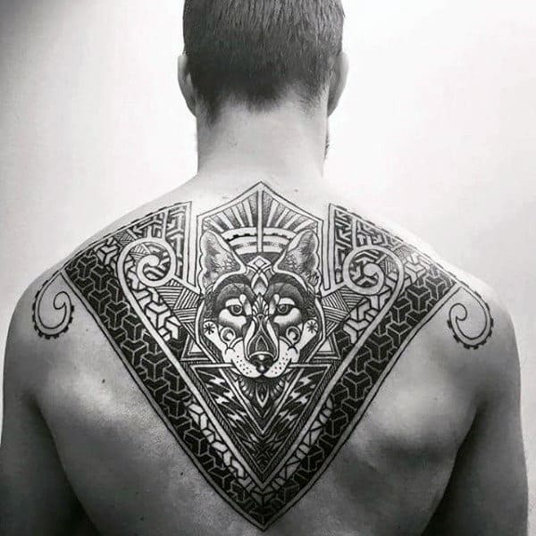 wolf-pattern-geometric-upper-back-tattoos-for-males