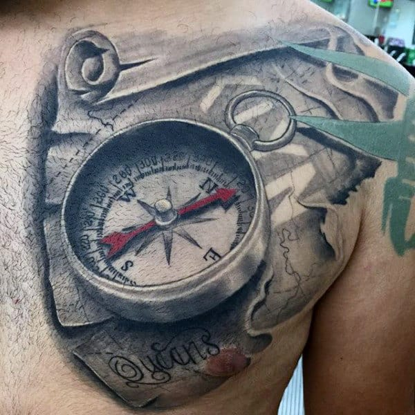 3d-world-map-scroll-tattoo-for-men-on-chest