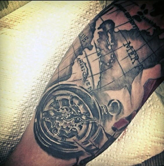 bicep-tattoo-of-map-with-compass-for-men