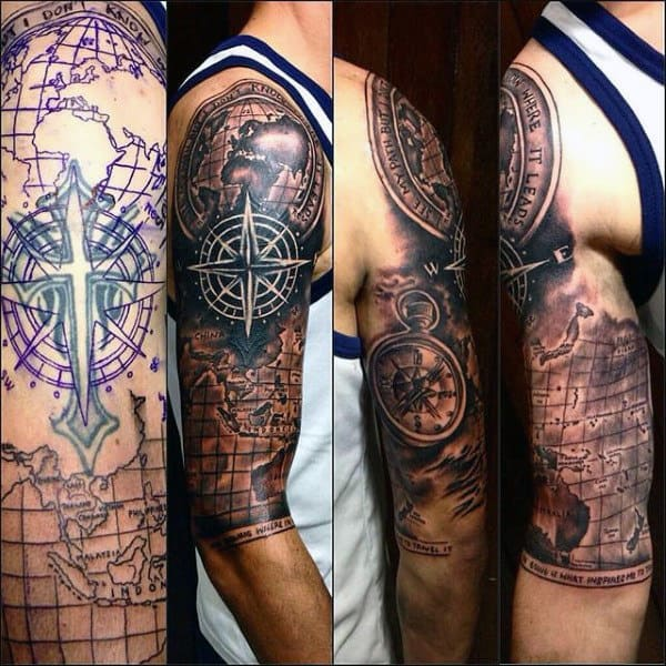 half-sleeve-mens-world-map-tattoo-cover-up