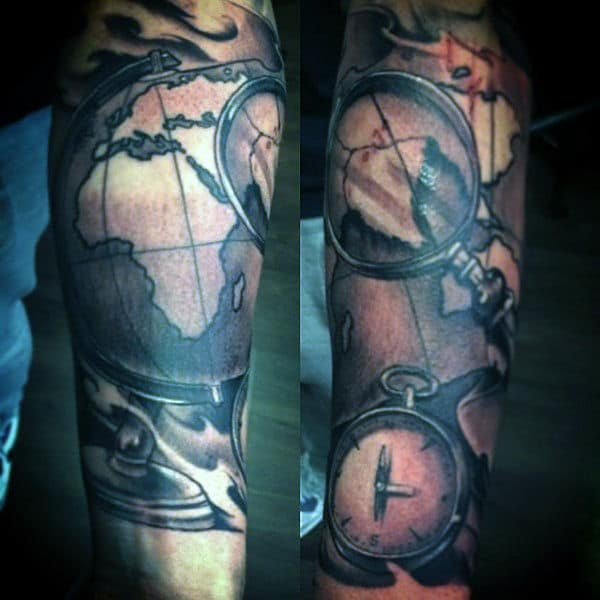 mens-wrist-map-tattoo-with-compass