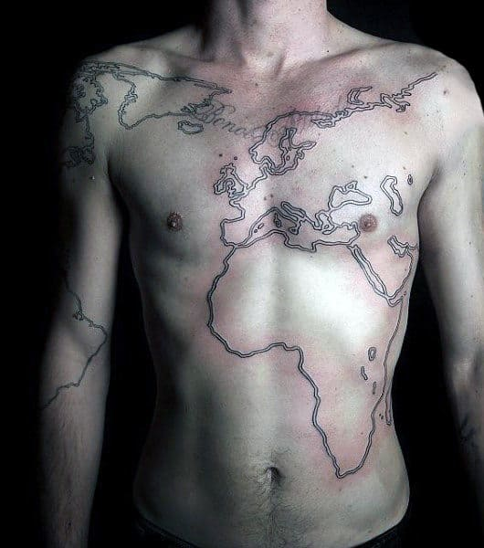 outline-world-map-mens-tattoo-on-chest