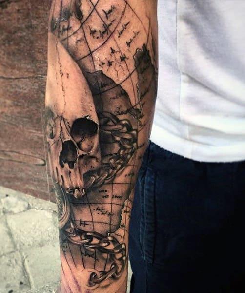 skull-mens-world-map-tattoos