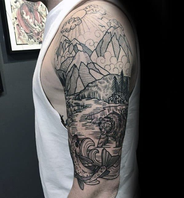 half-sleeve-guys-river-with-bear-and-mountains-tattoos