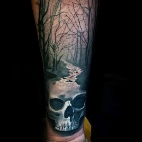 male-tattoo-with-skull-head-river-design-on-inner-forearm