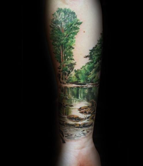 unique-mens-river-with-trees-forearm-tattoos