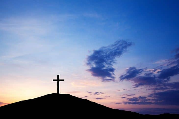 The cross on the hill, Jesus Christ from the Bible. Easter, Religion. Salvation of sins, sacrifice.