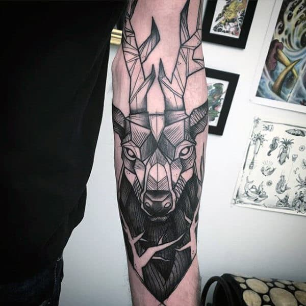 abstract-male-deer-tattoos-on-outer-forearm