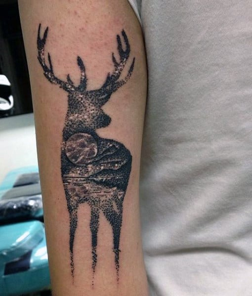 male-back-of-arm-deer-and-moonlight-tattoo-inspiration