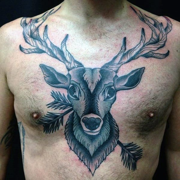 man-with-deer-tattoo-on-chest-with-arrows