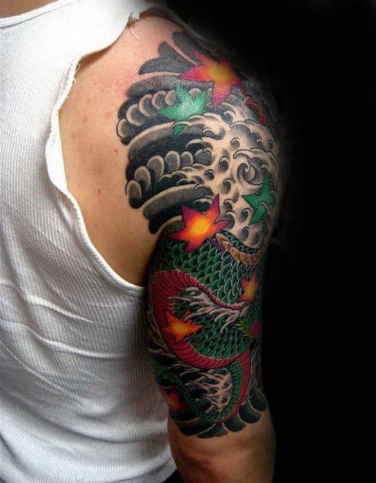 mens-half-sleeve-dragon-leaf-tattoo-with-japanese-design